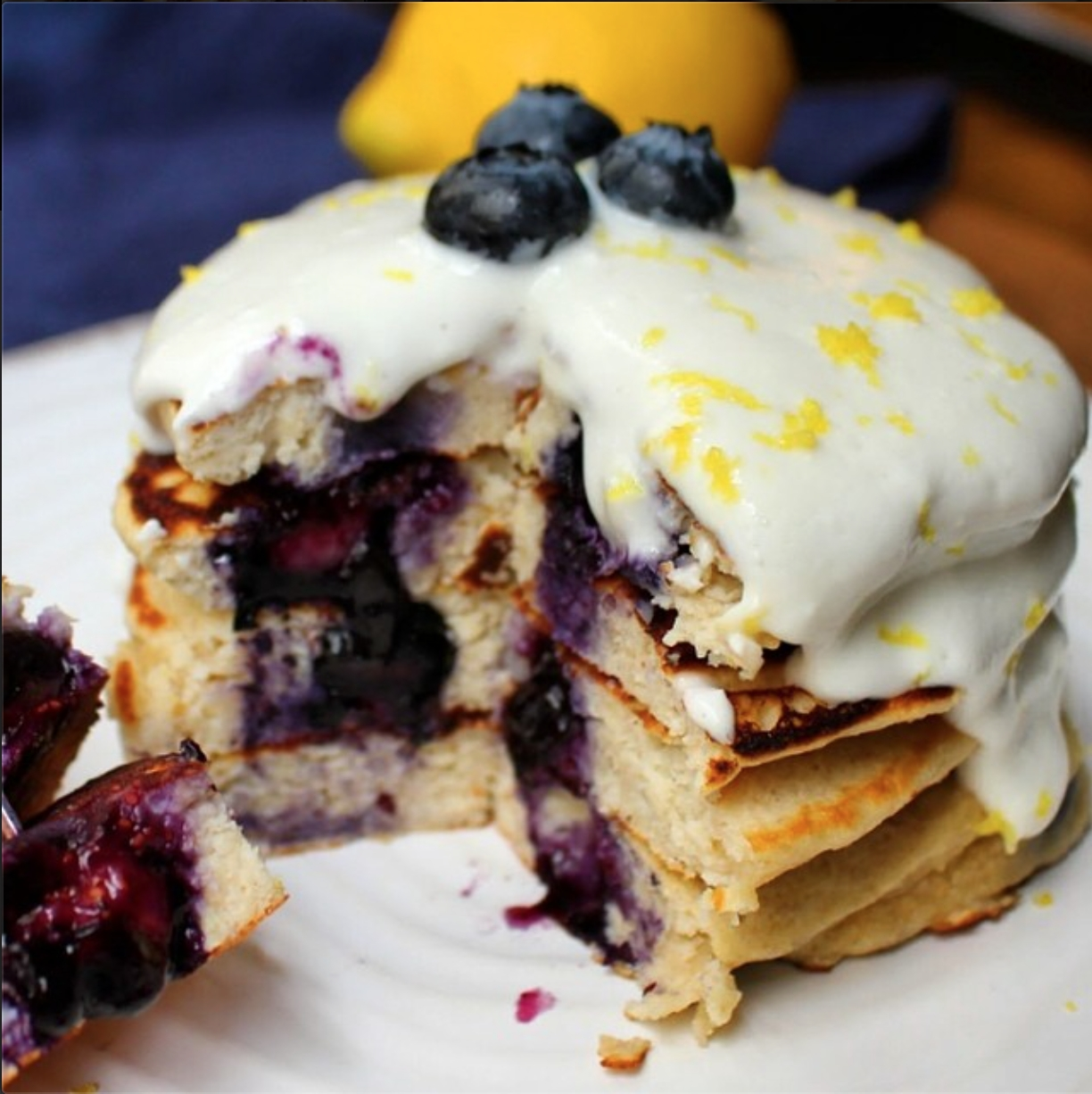 ... Recipes - Blueberry Protein Pancakes With Lemony Cream Cheese Topping