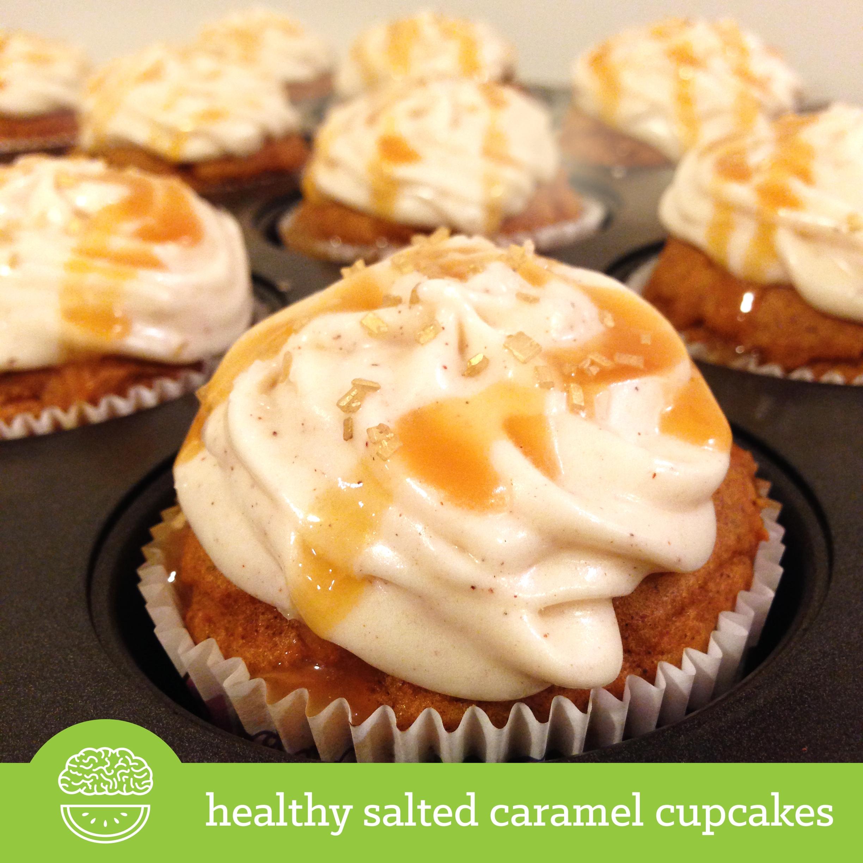 Healthy Salted Caramel Pumpkin Cupcakes