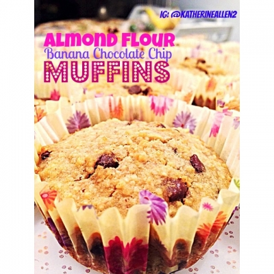 Almond Flour Banana Chocolate Chip Muffins