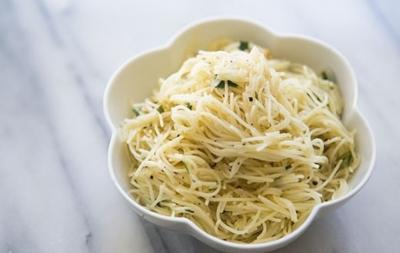 Angel Hair Pasta With Garlic Herbs and Parmesan