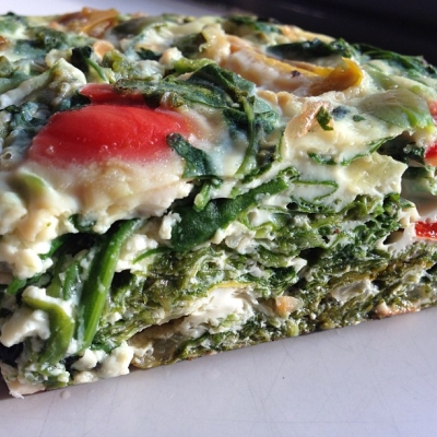 Arugula, Bell Pepper and Fresh Herb Egg White Frittata