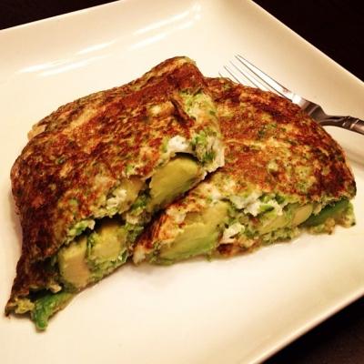 Avocado Stuffed Asparagus Egg White Omelet