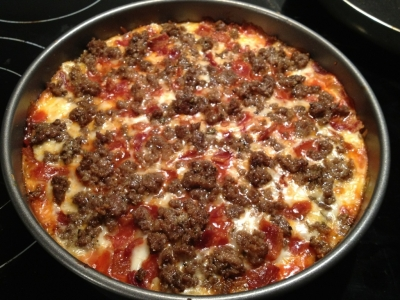 Bacon and Bison Low Carb Pizza