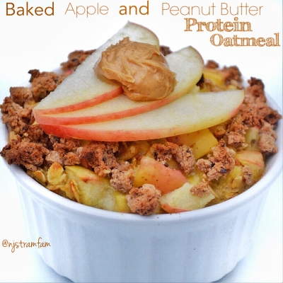 Baked Apple & Peanut Butter Protein Oatmeal