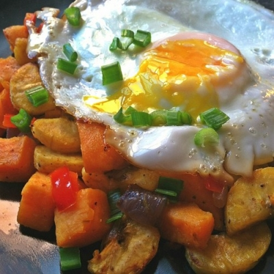 Baked Sweet Potato Plantain Hash & Egg