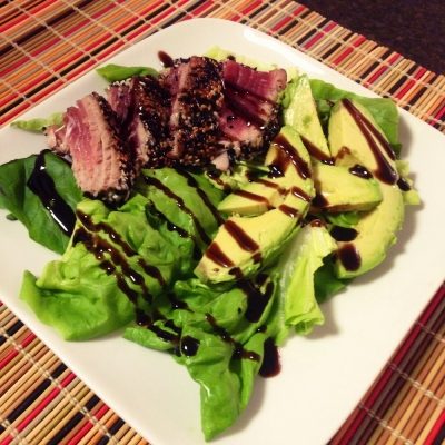 Balsamic-Glazed, Sesame Crusted Seared Ahi Tuna
