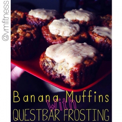 Banana Bread Muffins With Quest Bar Frosting
