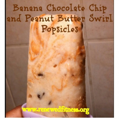 Banana Chocolate Chip and Peanut Butter Swirl Popsicles