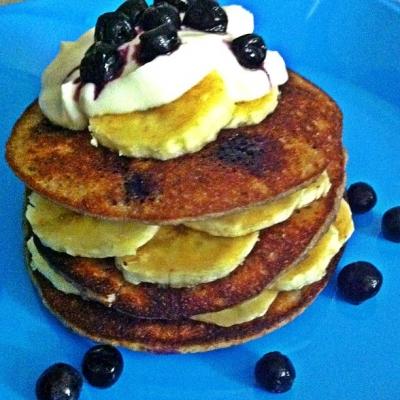 Blueberry Almond Protein Pancakes