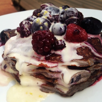 Blueberry and Banana Paleo Protein Pancakes