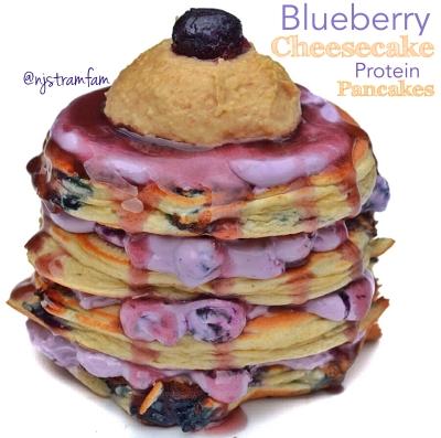 Blueberry Cheesecake Protein Pancakes