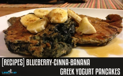 Blueberry-Cinna-Banana Greek Yogurt Pancakes
