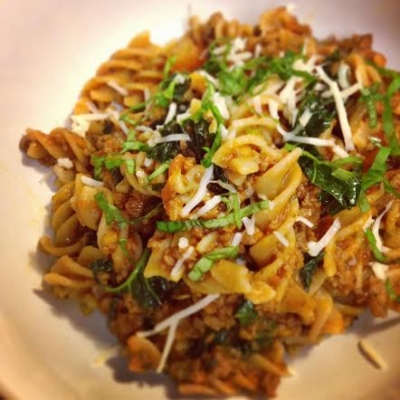 Brown Rice Pasta W/ Kale Bolognese