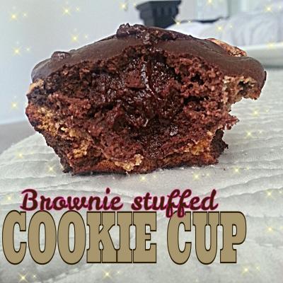 Brownie-Stuffed Cookie Cup