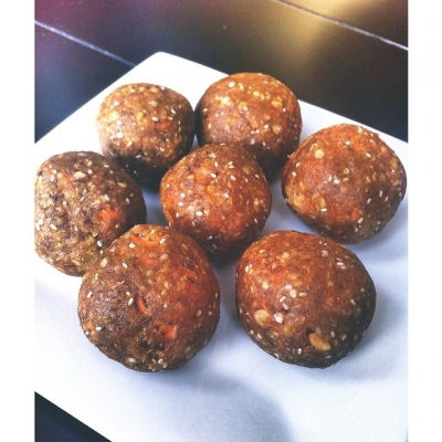 Carrot + Almond Butter Bliss Balls