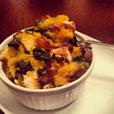 Chicken, Date, & Spinach Butternut Squash Mash