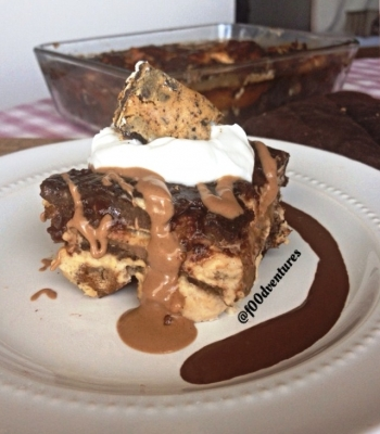 Chocolate and Peanut Butter Cream French Toast Bake