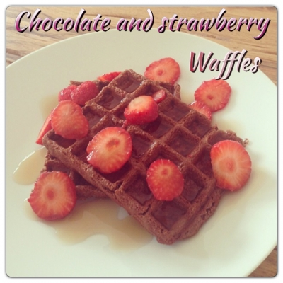 Chocolate and Strawberry Protein Waffles