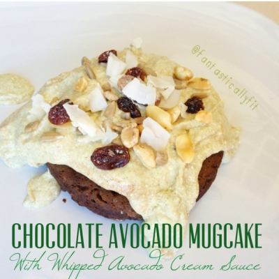 Chocolate Avocado Mugcake With Whipped Avocado Cream Sauce