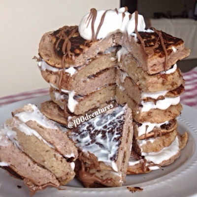 Chocolate Caramel French Toast Pancakes