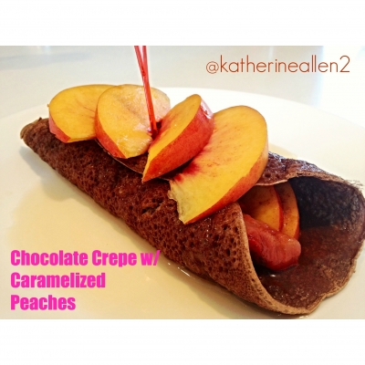 Chocolate Crepe W/ Caramelized Peaches