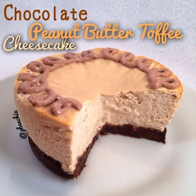 Chocolate Crusted Peanut Butter Toffee Cheesecake