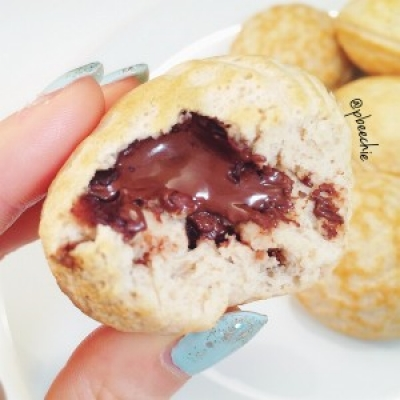 Chocolate Peanut Butter Pancake Puffs
