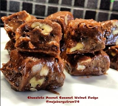 Chocolate Peanut Coconut Walnut Fudge