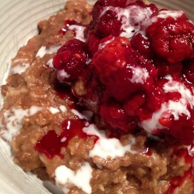 Chocolate Protein Oatmeal With Warm Raspberries