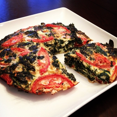 Chunky Tomato and Spinach Egg White Quiche