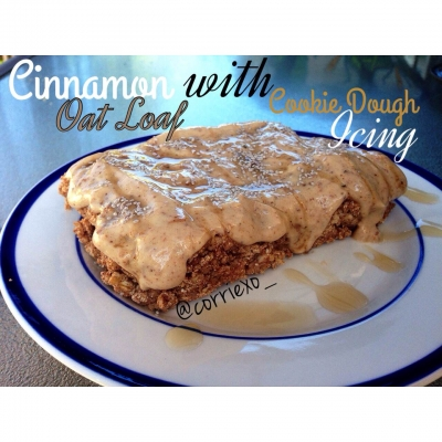 Cinnamon Oat Loaf With Cookie Dough Icing