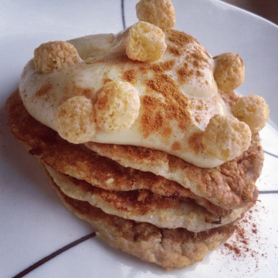 Cinnamon Swirl Pancakes With Cheesecake Protein Frosting