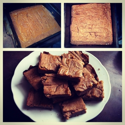 Clean Coconut Banana Protein Squares With Peanut Butter Swirl