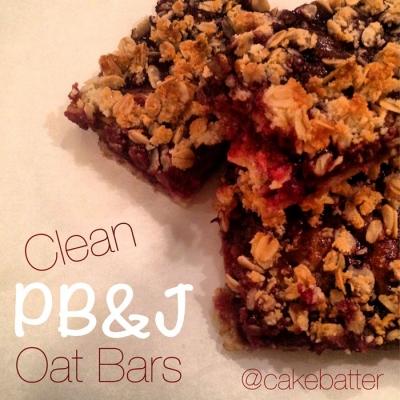 Clean Peanut Butter Jelly Oat Bars