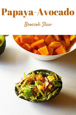 Colorful Papaya Avocado Slaw