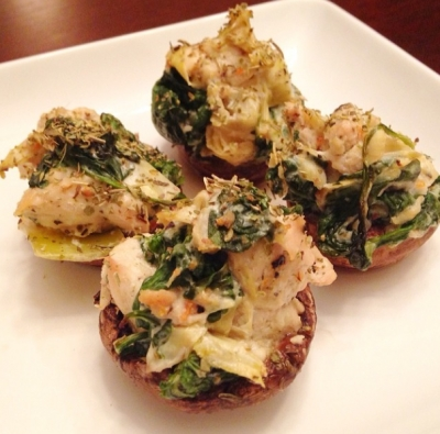 Creamy Spinach & Artichoke Chicken Stuffed Mushrooms