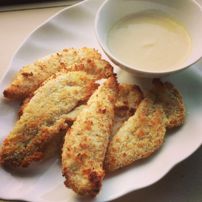 Crispy Coconut Chicken Tenders With Honey Dijon Dipping Sauce