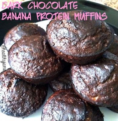 Dark Chocolate Banana Protein Muffins