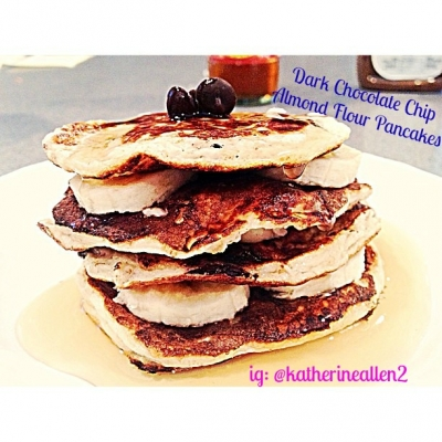 Dark Chocolate Chip Almond Flour Pancakes
