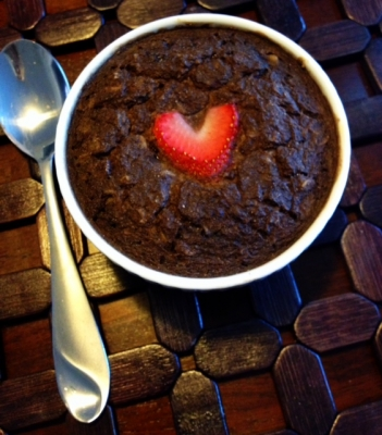 Dark Chocolate Strawberry Brownie Baked Oats