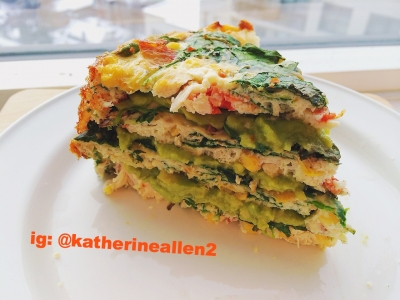 Egg White Chicken Quiche-Cake With Guacamole