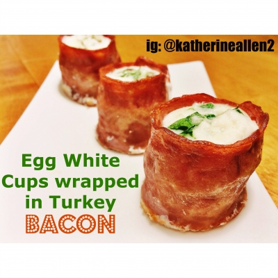 Egg White Cups Wrapped In Turkey Bacon