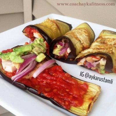 Eggplant Rolls With Chicken