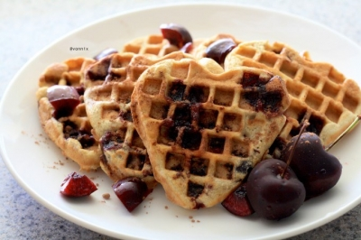 Fresh Cherry Waffles
