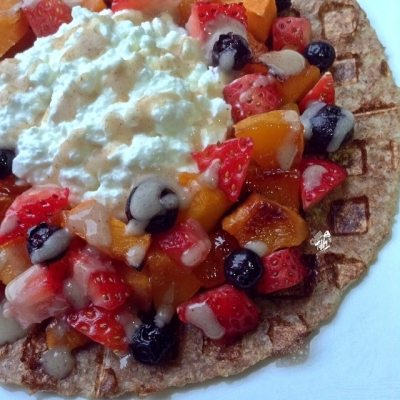 Fruit-Topped French Toasted Tortilla Waffle