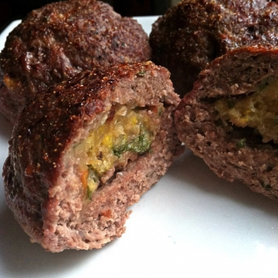 Garlic Plantain, Tomato & Spinach Stuffed Meatballs