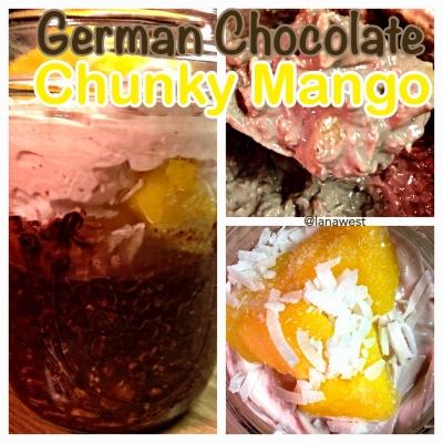 German Chocolate Chunky Mango Oats In a Jar