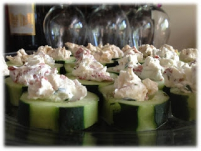 Greek Yogurt Filled Cucumbers