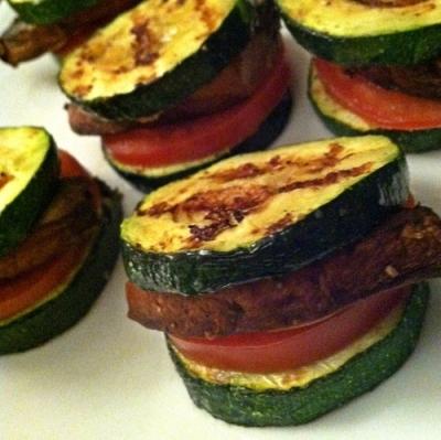 Grilled Garlic Zucchini & Portobello Sliders