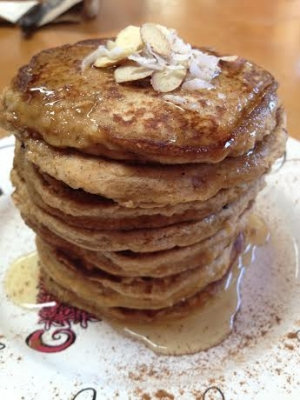 Honey Almond Coconut Pancakes